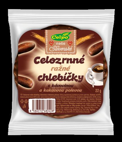 Ražné celozrnné chlebíčky s kávovinou a kakaovou polevou 22 g