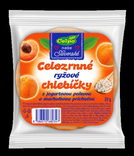 Ryžové celozrnné chlebíčky s jogurtovou polevou a marhuľovou príchuťou – 22 g